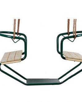 Asiento doble de madera con marco de metal